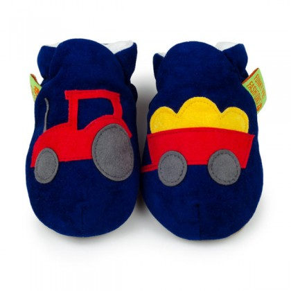 【HELLA 媽咪寶貝】英國 Funky Feet 室內手工鞋/學步鞋/嬰兒鞋/寶寶鞋_藍色小貨車 FF1004