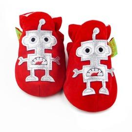 【HELLA 媽咪寶貝】英國 Funky Feet 室內手工鞋/學步鞋/嬰兒鞋/寶寶鞋_紅色機器人