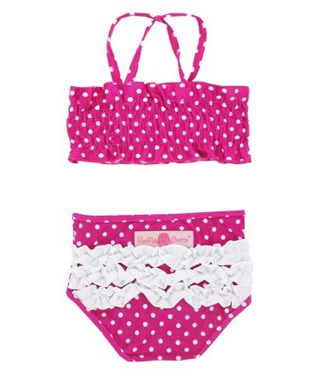 【HELLA 媽咪寶貝】美國 RuffleButts 小女童兩截式泳裝_覆盆子白點點泳裝  (RBSW08-01)