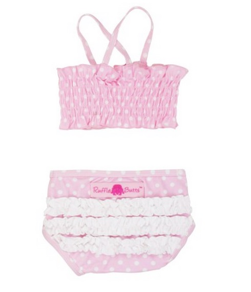 【HELLA 媽咪寶貝】美國 RuffleButts 小女童兩截式泳裝_淡粉白點點泳裝(RBSW08-02)
