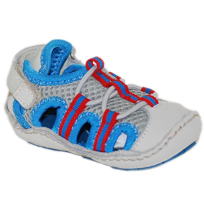 【HELLA 媽咪寶貝】美國 Rileyroos 手工真皮無毒學步鞋/嬰兒鞋/寶寶鞋/童鞋_派翠克 時尚藍銀涼鞋