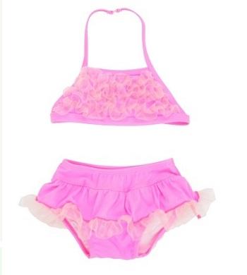 【HELLA 媽咪寶貝】美國 RuffleButts 小女童比基尼泳裝_熱情粉縐紗泳裝 (RBSW06-01)