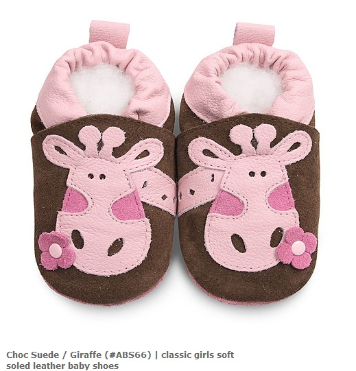 【HELLA 媽咪寶貝】英國 shooshoos 安全無毒真皮手工鞋/學步鞋/嬰兒鞋_棕色/粉紅長頸鹿(公司貨)