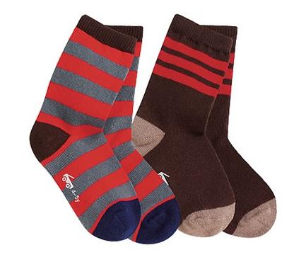 【HELLA 媽咪寶貝】美國 see kai run 有機襪/純棉襪/寶寶襪子/兒童襪子_紅灰條紋與紅條紋咖啡襪(SKR08)