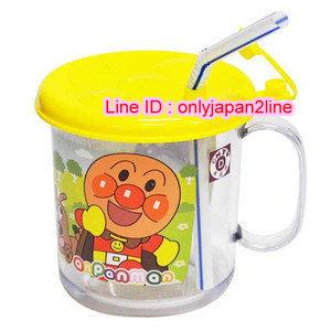 【真愛日本】16101300058 透明吸管杯-麵包超人飛行黃    Anpanman麵包超人 水壺 吸管杯 兒童用品