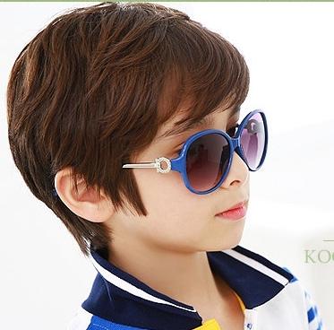Kocotree◆貴族質感圓鏤空造型兒童紫外線護目太陽眼鏡-寶石藍