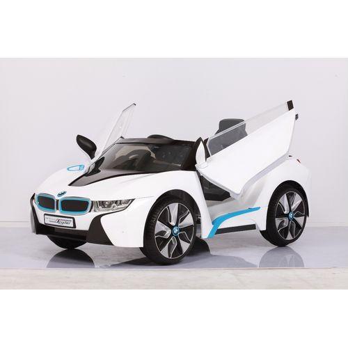 【淘氣寶寶】原廠寶馬BMW I8 雙開門電動車(附遙控)(白)W480QG(緩起步) 【贈 動物家族拉拉樂積木】