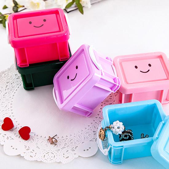 ♚MY COLOR♚微笑鎖扣式收納盒 迷你 配件 首飾 學生 閨蜜 文具 整理 桌面 項鍊 小物【L134-1】