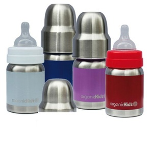 【淘氣寶寶】 加拿大 organicKidz 不鏽鋼保溫奶瓶Organickidz /【寬口徑】4oz 120ml (白/紫/藍/紅  四色可選)