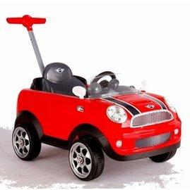 【淘氣寶寶】Mini Coopers 握把式助步車 四輪後控助步車(紅) 超有趣的腳行車