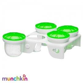 【淘氣寶寶】美國 Munchkin 副食品冷凍分裝保鮮盒/Munchkin 離乳食品盒*附儲存座 60ML(4入)【綠色】