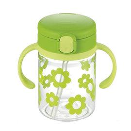 【淘氣寶寶】日本《Richell-利其爾》(新)LC兒童戶外吸管水杯-第二代喝水杯吸管學習杯200ml翠綠