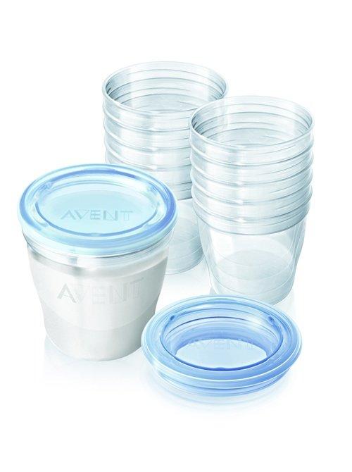 【淘氣寶寶】英國原廠 AVENT VIA 新安怡-薇亞多功能儲存杯「180ml*10個+杯蓋*10個+轉換蓋*2」