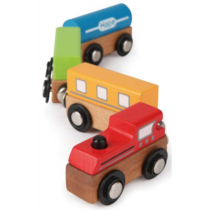【淘氣寶寶】德國Hape愛傑卡-快樂積木組-磁性火車(彩色火車)【天然實木、植物性水染漆、德國環保玩具】