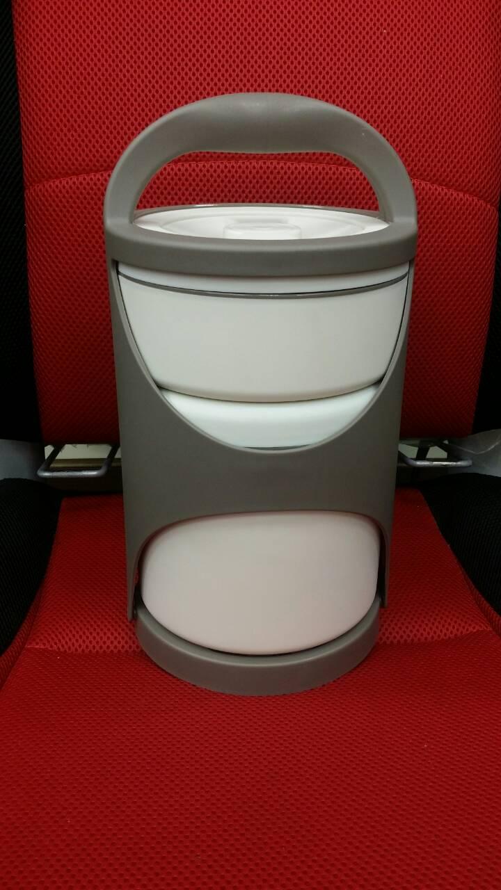 【淘氣寶寶】保溫食物盒(1組兩格 1.2公升+500毫升)+(1組湯叉)不鏽鋼內膽+食品級PP塑料