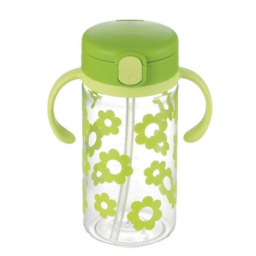 【淘氣寶寶】日本《Richell-利其爾》(新)LC兒童戶外吸管水杯-第二代喝水杯吸管學習杯320ml翠綠