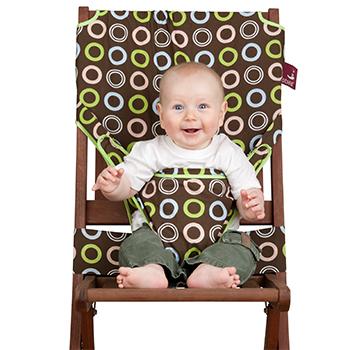【淘氣寶寶】 英國 Totseat 攜帶型嬰兒安全座椅套/餐椅套/餐椅安全背帶(咖綠圈圈)【公司貨●原廠購買有保障】