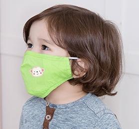 Lemonkid◆可愛純色小花猴子活性炭PM2.5防護舒棉防塵口罩-草綠色