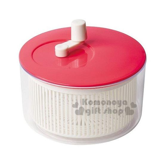 〔小禮堂〕PEARL METAL 日製蔬菜脫水器《紅白.透明.圓形.盒裝》洗米洗蔬果