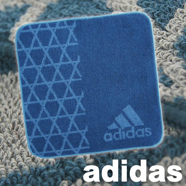 【沙克思】adidas 左側菱形網紋右下標誌小小方巾 特性:100%純棉編織.觸感柔細.吸汗性優異 (愛迪達 手帕巾 毛巾 方巾 洗臉巾 )