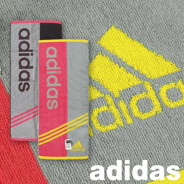 【沙克思】adidas左右兩色英字三斜紋長毛巾 特性:100%棉+銀抗菌防臭加工+具部屋對應機能 (愛迪達 毛巾 運動毛巾)