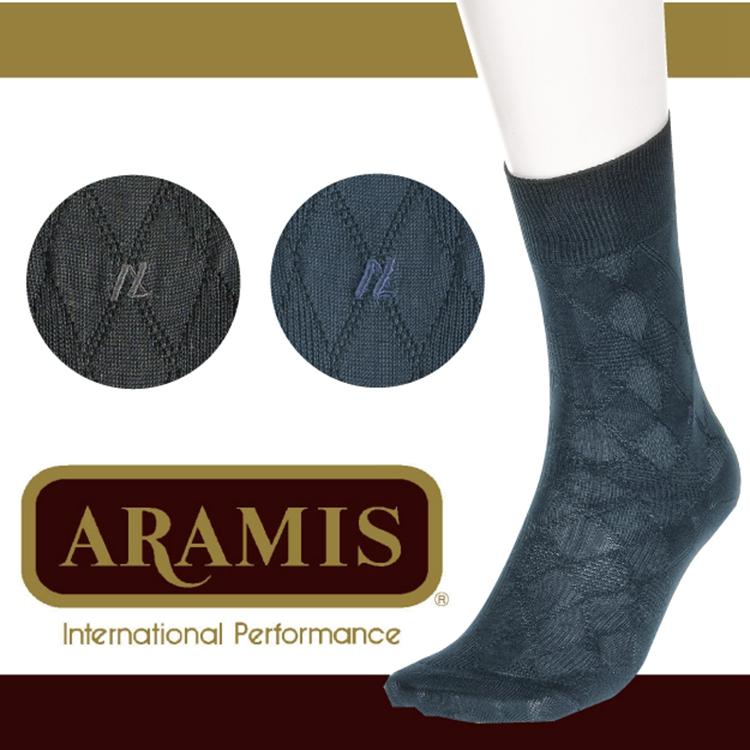 【沙克思】ARAMIS織大菱格紋刺繡紳士襪 特性:棉95%編織+舒適鬆口設計+光澤棉素材+抗菌防臭加工 (襪子 男襪 棉襪)