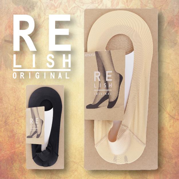 【沙克思】RELISH 素色淺履棉混後跟止滑女隱形襪 特性:淺履設計+扁平履口+棉底素材+立體後跟附止滑 (ATSUGI 厚木 襪子女襪 襪套)