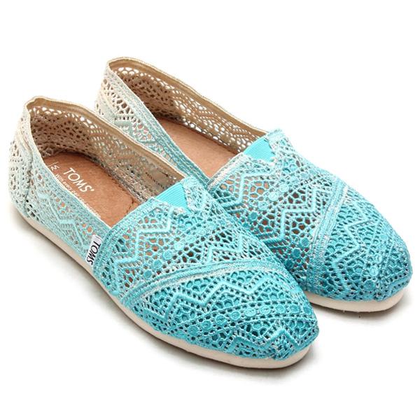 [女款] 國外代購TOMS 帆布鞋/懶人鞋/休閒鞋/至尊鞋 蕾絲系列  漸變藍色