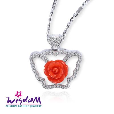 天然海洋紅珊瑚 紅玫瑰墜飾(不含鍊)情人節/母親節/生日 送禮/自用 威世登時尚珠寶