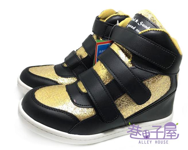 【巷子屋】女款小心機5cm內增高運動休閒鞋 5cm [37062] 黑金 MIT台灣製造 超值價$298