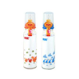 【悅兒樂婦幼用品舘】NUK 一般口徑玻璃印花奶瓶(230ml)-Size 1