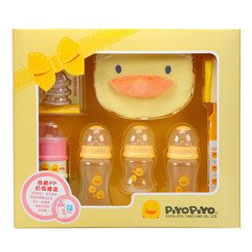 【悅兒樂婦幼用品舘】Piyo 黃色小鴨 寬口徑PP奶瓶禮盒