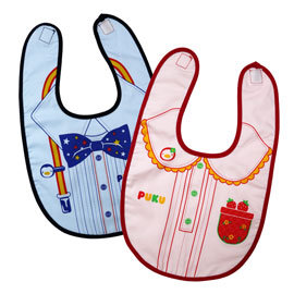 【悅兒樂婦幼用品舘】Puku 藍色企鵝 禮服造型雙層圍兜-藍/紅
