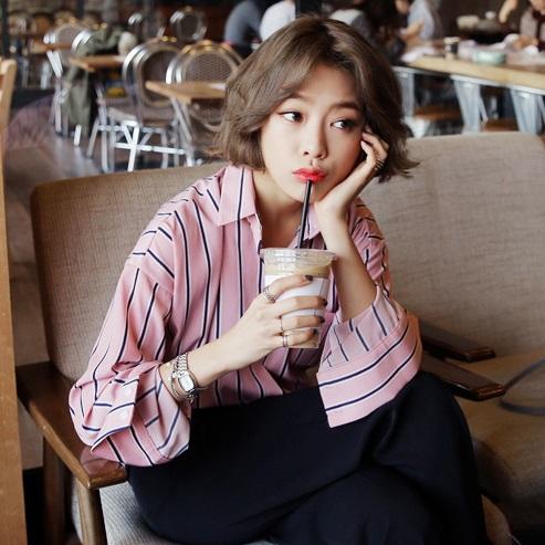PS Mall 韓版元氣少女粉色條紋POLO長袖襯衫【T2317】