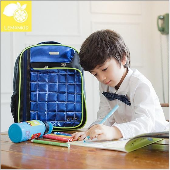 Lemonkid◆奢華酷炫亮面菱格設計背帶螢光條兒童書包雙肩包後背包-藍色