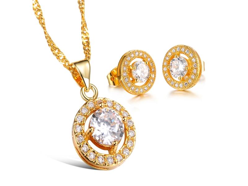 《316小舖》【KX10】(奈米電鍍18K金套裝組-(項鍊+耳環)-貴族白鑽金項鍊+貴族白鑽金耳環一組價-共3件)