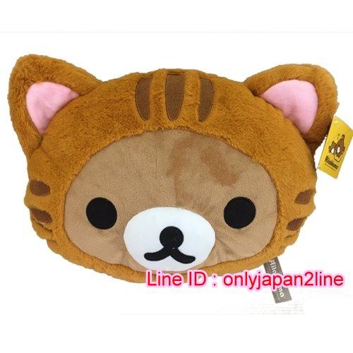 【真愛日本】16101500008頭型抱枕-懶熊變裝貓   拉拉熊 Rilakkuma 抱枕 靠枕 娃娃