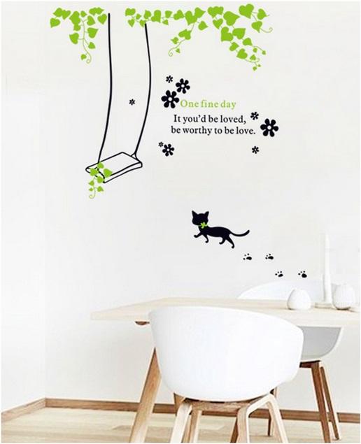 【壁貼王國】 園藝系列無痕壁貼 《小貓鞦韆 - AY741》