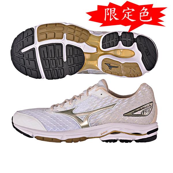 限量獨賣!慢跑鞋的代名詞 WAVE RIDER 19  男慢跑鞋 J1GR160375(白X金)S【美津濃MIZUNO】