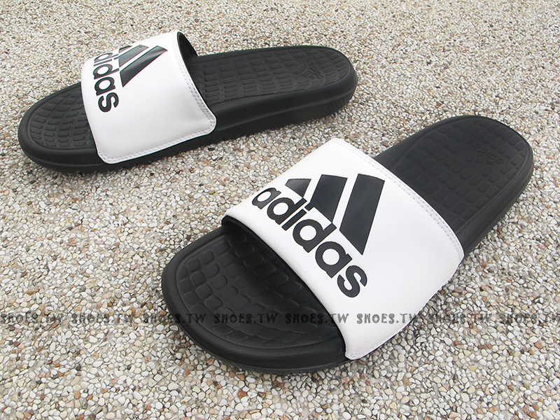 Shoestw【B23290】ADIDAS Voloomix 拖鞋 黑白 大LOGO 男生尺寸