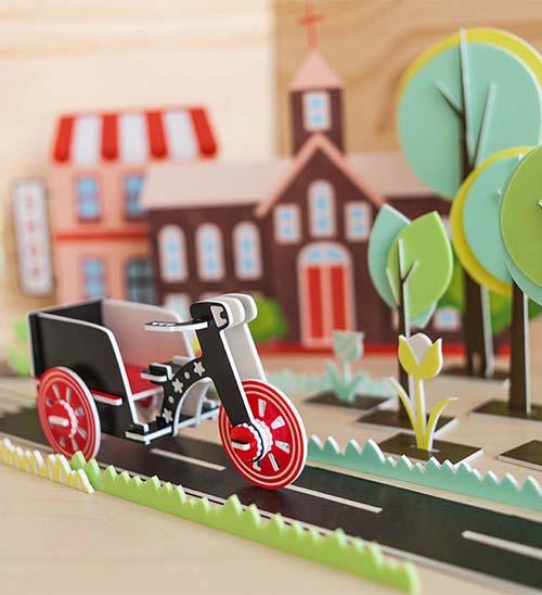 幸福森林.兒童 立體彩色拼圖 三輪車