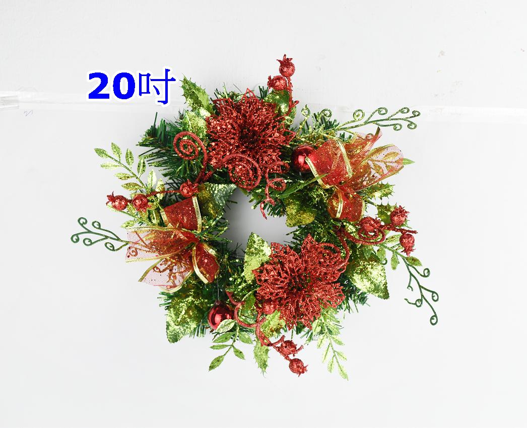 X射線【X454615】20吋裝飾聖誕花環(紅),聖誕節/聖誕佈置/聖誕掛飾/聖誕裝飾/聖誕吊飾/聖誕花材
