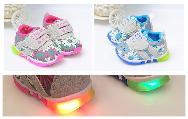 嬰兒軟底學步鞋LED亮燈鞋