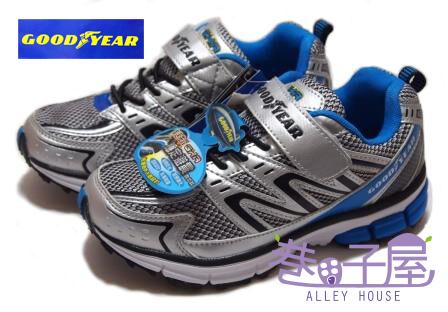【巷子屋】GOODYEAR固特異 疾速先鋒-男童輕量運動慢跑鞋 [23016] 銀藍