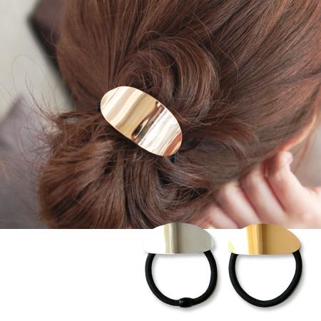 歐風極簡金屬風橢圓髮束 髮飾 髮圈 髮繩 橡皮筋【N201588】
