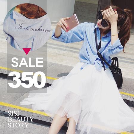 SISI【L6036】韓版翻領背字母刺繡長袖開襟亞麻條紋襯衫罩衫外套