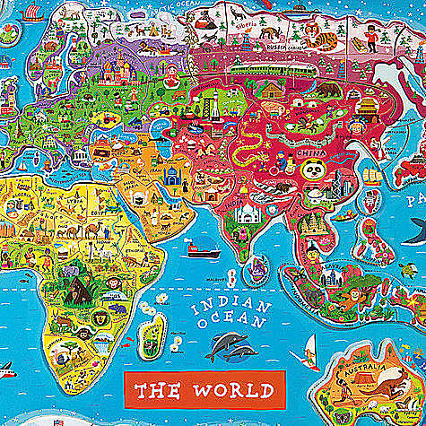 法國 Janod 磁鐵世界地圖 木頭拼圖 *夏日微風*