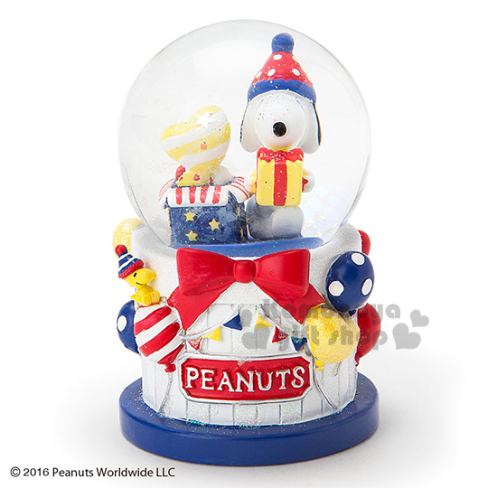 〔小禮堂〕史努比 造型耶誕雪球《S.派對.蛋糕.淡黃盒裝》冬日聖誕限定系列