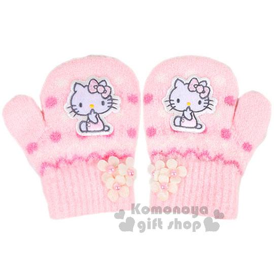 〔小禮堂〕Hello Kitty 兒童針織手套《SS.粉.側坐.花.點點.連指》秋冬禦寒小物