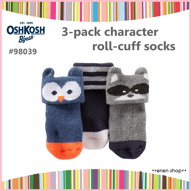 Enen Shop @OshKosh B'gosh 可愛浣熊/貓頭鷹嬰兒襪三件組 ∥ 0-3M 新生兒/彌月禮